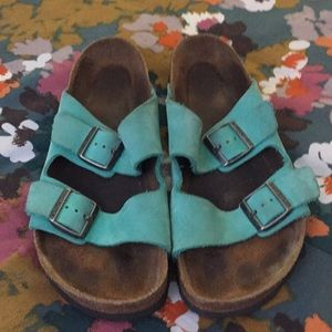 Green Suede Birkenstock Arizona with Soft Footbed